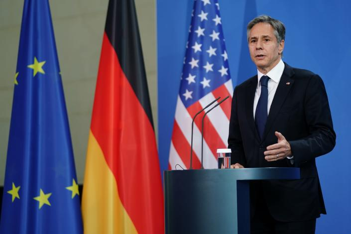 US Secretary of State Antony Blinken takes part in a joint press conference with German Chancellor Angela Merkel at the Chancellery in Berlin, Germany, Wednesday June 23, 2021. (Clemens Bilan/Pool via AP)