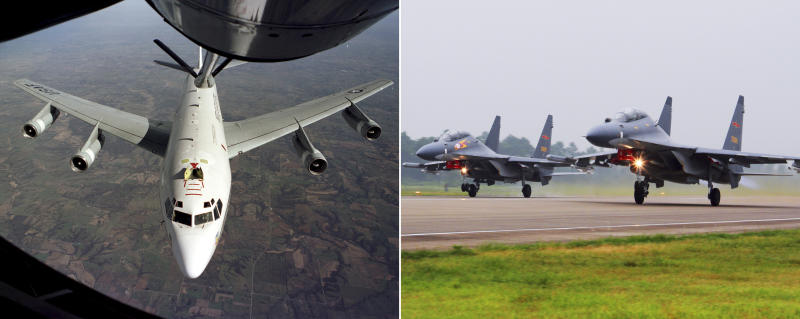 """This undated combination of photos shows the U.S. Air Force WC-135W Constant Phoenix aircraft during flight, left, and two Chinese SU-30 fighter jets taking off. A pair of Chinese fighter jets conducted an """"unprofessional"""" intercept of an American radiation-sniffing surveillance plane over the East China Sea, the U.S. Air Force said Friday, May 19, 2017, the latest in a series of such incidents that have raised U.S. concerns in an already tense region. (U.S. Air Force and Xinhua via AP)"""