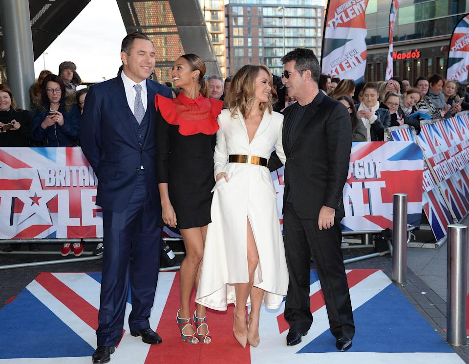 """Photo by: KGC-246/STAR MAX/IPx 1/31/15 Simon Cowell, Alesha Dixon, David Walliams and Amanda Holden at the Lowry Theatre for Day 3 of the Manchester auditions for """"Britain's Got Talent"""". (Manchester, England, UK)"""