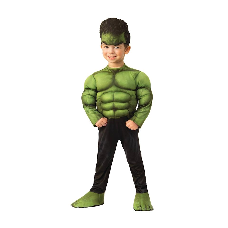"<p>Make your toddler look as powerful as the incredible hulk with the <a href=""https://www.popsugar.com/buy/Toddler-Boys-Marvel-Hulk-Muscle-Chest-Halloween-Costume-496586?p_name=Toddler%20Boys%27%20Marvel%20Hulk%20Muscle%20Chest%20Halloween%20Costume&retailer=target.com&pid=496586&price=20&evar1=moms%3Aus&evar9=46700813&evar98=https%3A%2F%2Fwww.popsugar.com%2Ffamily%2Fphoto-gallery%2F46700813%2Fimage%2F46701388%2FToddler-Boys-Marvel-Hulk-Muscle-Chest-Halloween-Costume&list1=shopping%2Ctarget%2Challoween%2Ctoddlers%2Challoween%20costumes%2Challoween%20for%20kids%2Ckid%20halloween%20costumes%2Challoween%20costumes%202019&prop13=api&pdata=1"" rel=""nofollow"" data-shoppable-link=""1"" target=""_blank"" class=""ga-track"" data-ga-category=""Related"" data-ga-label=""https://www.target.com/p/toddler-boys-marvel-hulk-muscle-chest-halloween-costume/-/A-54627463?preselect=75667882#lnk=sametab"" data-ga-action=""In-Line Links"">Toddler Boys' Marvel Hulk Muscle Chest Halloween Costume</a> ($20).</p>"