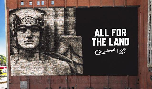 A look at the new banner the Cleveland Cavaliers plan to hang on the wall of the Sherwin-Williams headquarters facing Quicken Loans Arena. (Image via Cleveland Cavaliers)