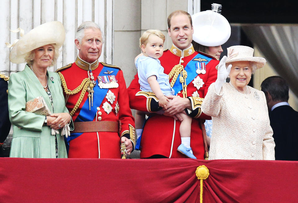 <p>Camilla, Charles, William, George and the Queen on the balcony in 2015 (PA) </p>