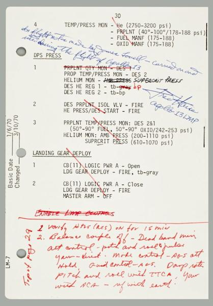 This one page note details some of the main actions Apollo 13 astronauts needed to make in order to get back to Earth safely after a failed flight to the moon. It sold at auction for $84,100.