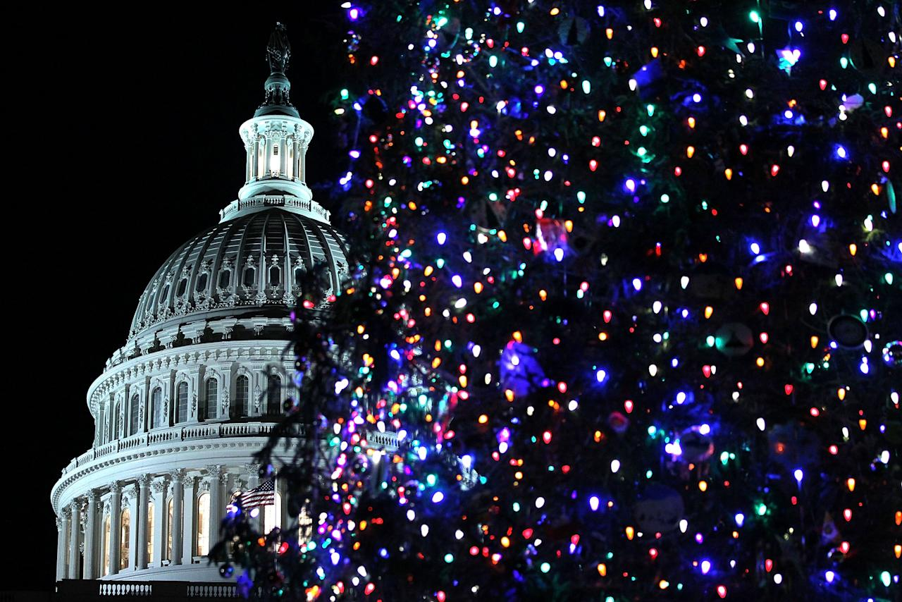 WASHINGTON, DC - DECEMBER 04:  The 2012 Capitol Christmas Tree is seen after U.S. Speaker of the House Rep. John Boehner (R-OH) lit it up with Ryan Shuster, a senior at Discovery Canyon Campus in Colorado Spring, Colorado, December 4, 2012 at the West Front Lawn of the U.S. Capitol in Washington, DC. The year's tree is a 65-foot Engelmann spruce from the Blanco Ranger District of the White River National Forest in Colorado.  (Photo by Alex Wong/Getty Images)