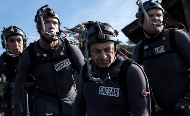 Karin Konoval, Andy Serkis, Terry Notary, and Michael Adamthwaite filming <em>War for the Planet of the Apes</em>. (Fox)