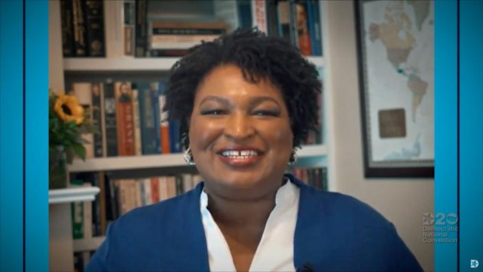 Stacey Abrams, former candidate for governor of Georgia, speaks to viewers during the Democratic National Convention at the Wisconsin Center, Tuesday, Aug. 18, 2020.