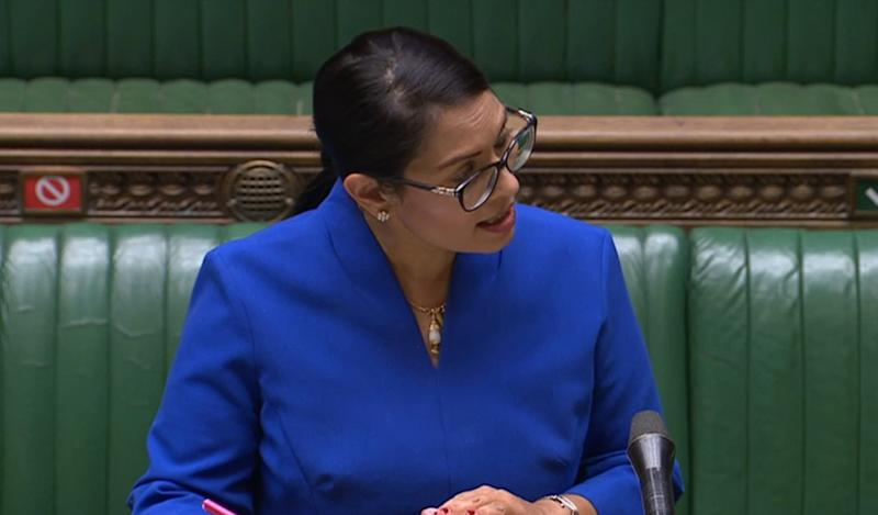 Home Secretary Priti Patel giving a statement in the House of Commons, London on health measures at UK borders. (Photo by House of Commons/PA Images via Getty Images)