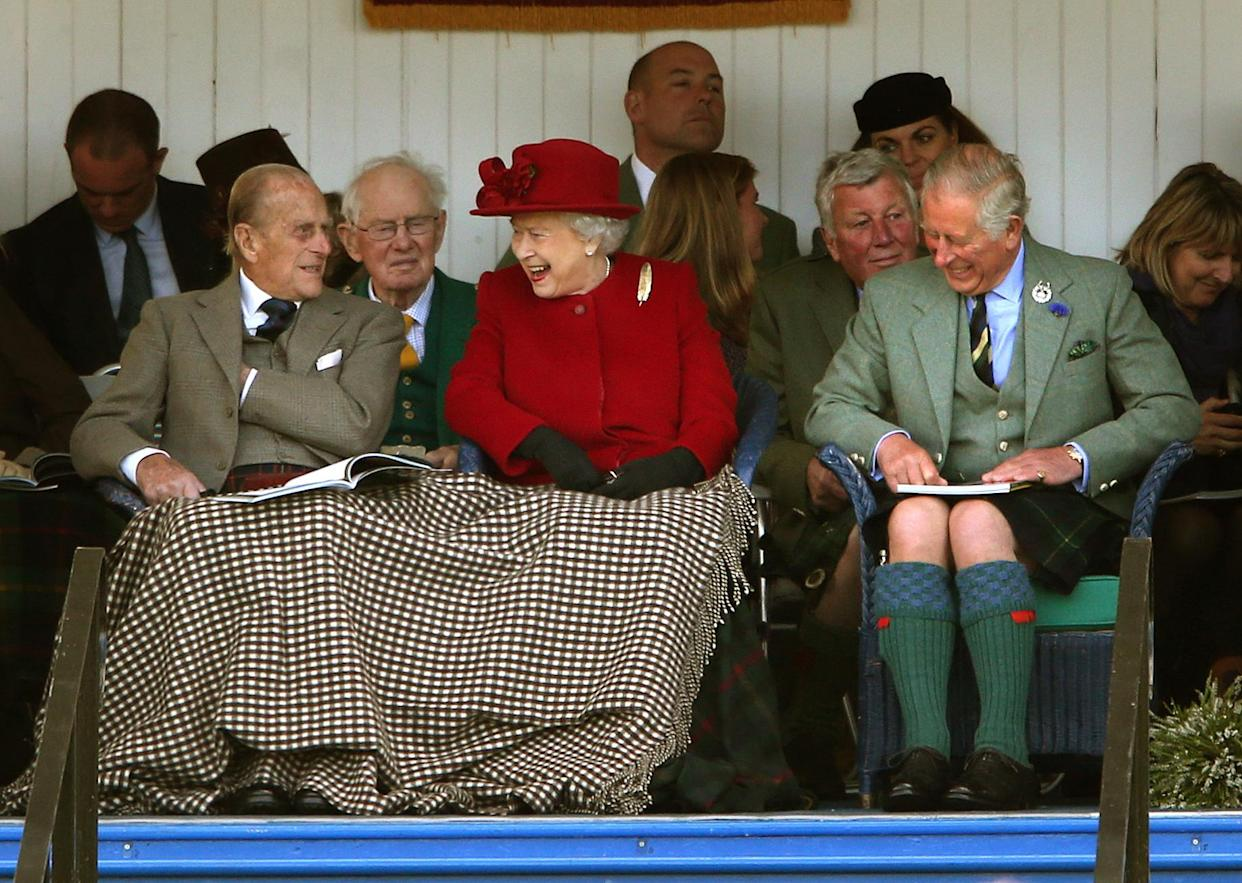 The Duke of Edinburgh, The Games' patron Queen Elizabeth II and the Prince of Wales, known as the Duke of Rothesay when in Scotland during the Braemar Royal Highland Gathering held a short distance from the royals' summer retreat at the Balmoral estate in Aberdeenshire.