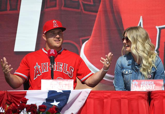 Mike Trout is a father. (Photo by Jayne Kamin-Oncea/Getty Images)