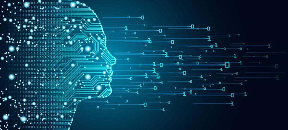 Big data and artificial intelligence concept. Machine learning and cyber mind domination concept in form of women face outline outline with circuit board and binary data flow on blue background.