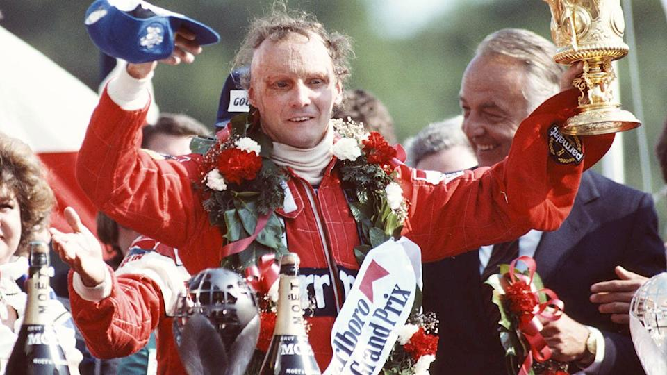 Niki Lauda in 1982. (Photo by Adrian Murrell/Getty Images)