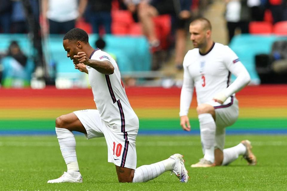 Raheem Sterling and Luke Shaw take the knee before England v Germany at Euro 2020