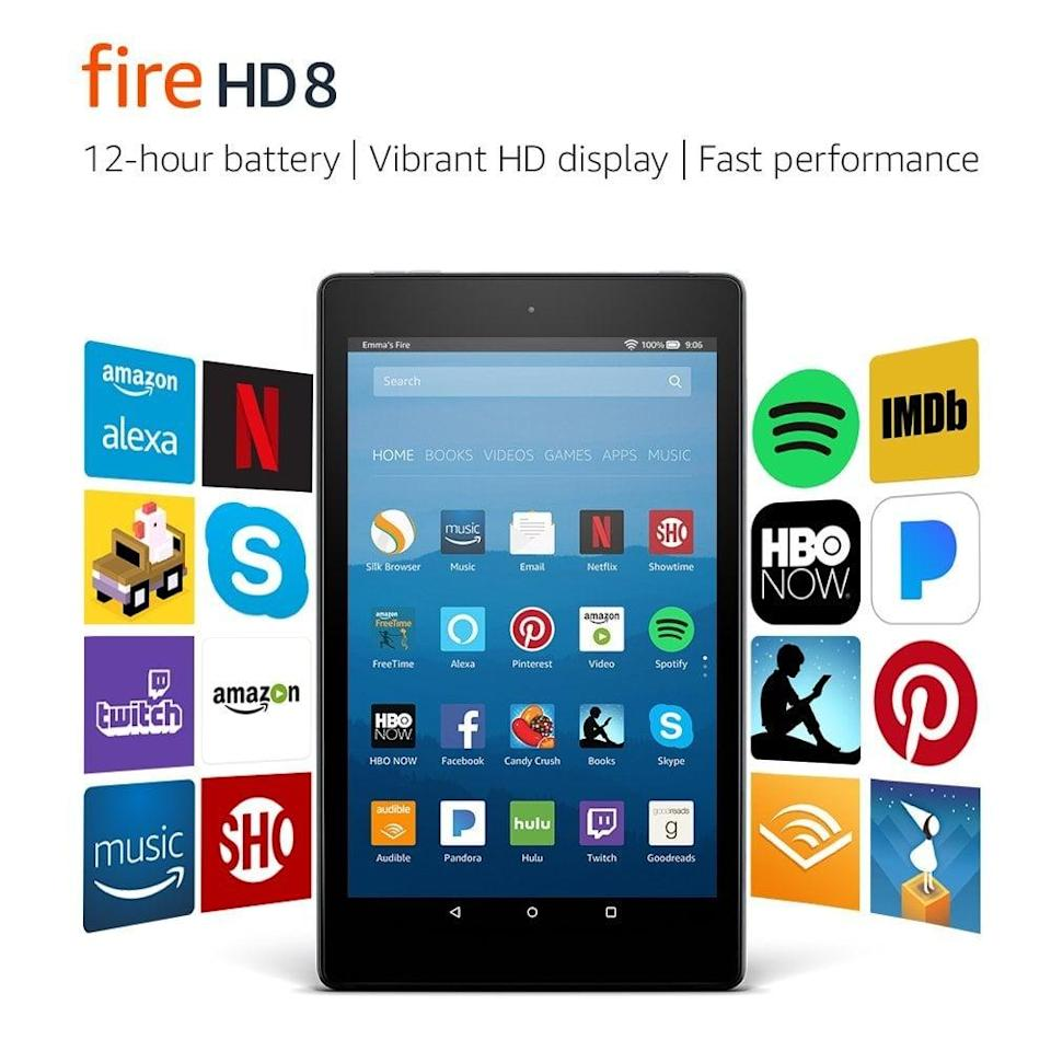 <p>The Amazon <span>Fire HD 8 Tablet with Alexa</span> ($90) is really something special. Not only can you take Alexa with you wherever you go, but you can read, watch movies, work, and shop, all from one compact, lightweight device.</p>