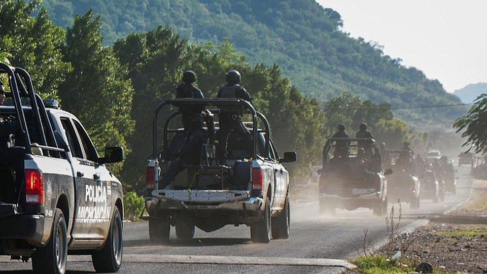 Police patrol in the Mexican state of Michoacán, on October 14, 2019