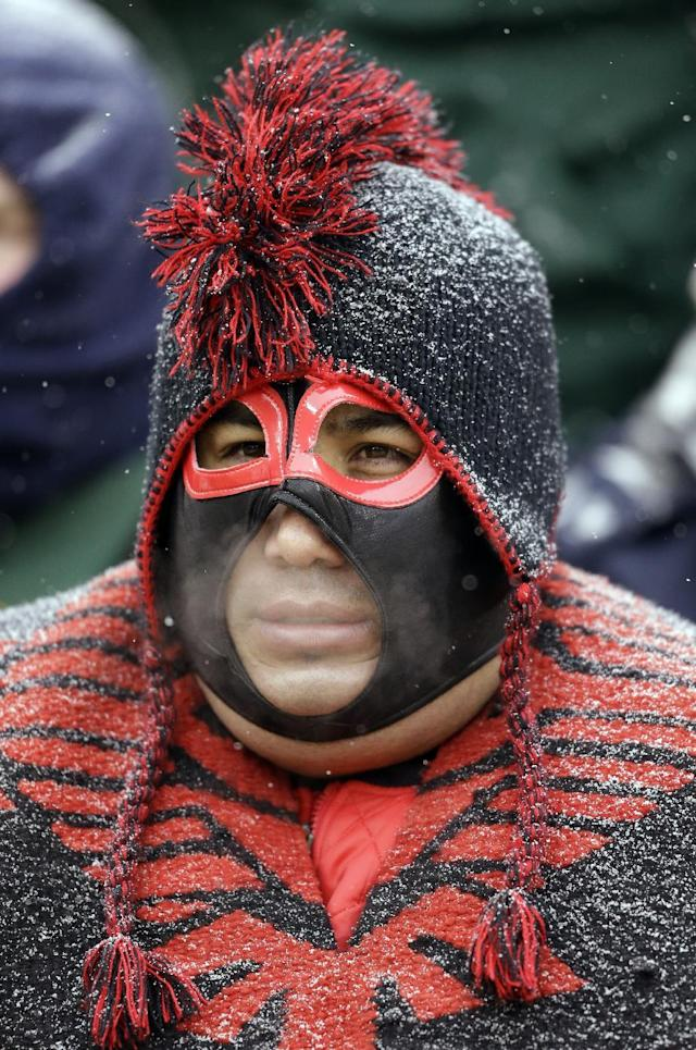 A Atlanta Falcons fan watches from his seat at Lambeau Field during the second half of an NFL football game against the Green Bay Packers Sunday, Dec. 8, 2013, in Green Bay, Wis. The Packers won 22-21. (AP Photo/Mike Roemer)