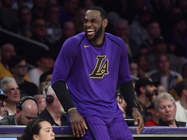 Los Angeles Lakers forward LeBron James. The Lakers won 129-115. (AP Photo/Mark J. Terrill)
