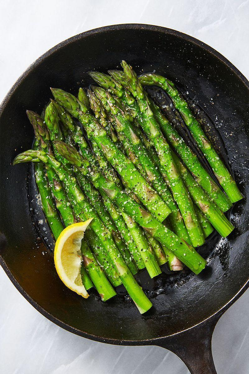 """<p>Steaming <a href=""""https://www.delish.com/uk/food-news/a29187765/how-to-keep-veg-fruit-fresh/"""" rel=""""nofollow noopener"""" target=""""_blank"""" data-ylk=""""slk:vegetables"""" class=""""link rapid-noclick-resp"""">vegetables</a> is the healthiest way to prepare them—so we finished ours with some butter, just to be safe. These cook up so fast for a simple and quick side dish to complete any meal.</p><p>Get the <a href=""""https://www.delish.com/uk/cooking/recipes/a30724279/easy-steamed-asparagus-recipe/"""" rel=""""nofollow noopener"""" target=""""_blank"""" data-ylk=""""slk:Steamed Asparagus"""" class=""""link rapid-noclick-resp"""">Steamed Asparagus</a> recipe.</p>"""