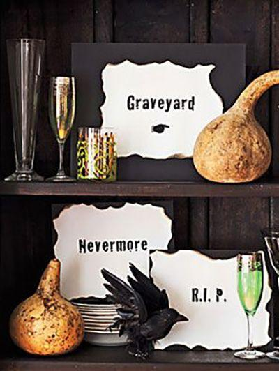 """<p>With just four materials, you can create these scary signs that could guide your guests towards the scariest parts of your home.</p><p><a href=""""https://www.womansday.com/home/crafts-projects/how-to/a5280/halloween-decoration-scary-signs-how-to-110916/"""" rel=""""nofollow noopener"""" target=""""_blank"""" data-ylk=""""slk:Get the tutorial for Scary Signs."""" class=""""link rapid-noclick-resp""""><em>Get the tutorial for Scary Signs.</em></a></p>"""