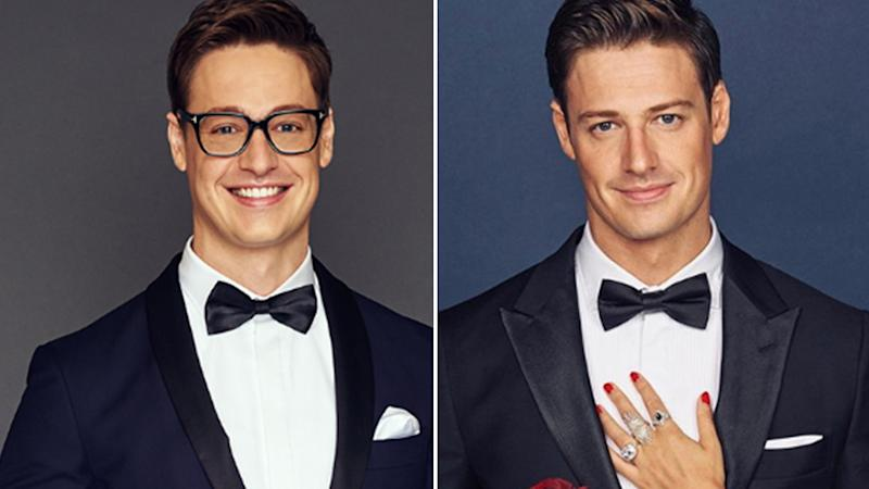 Two photos of The Bachelor Australia Matt Agnew showing his makeover.