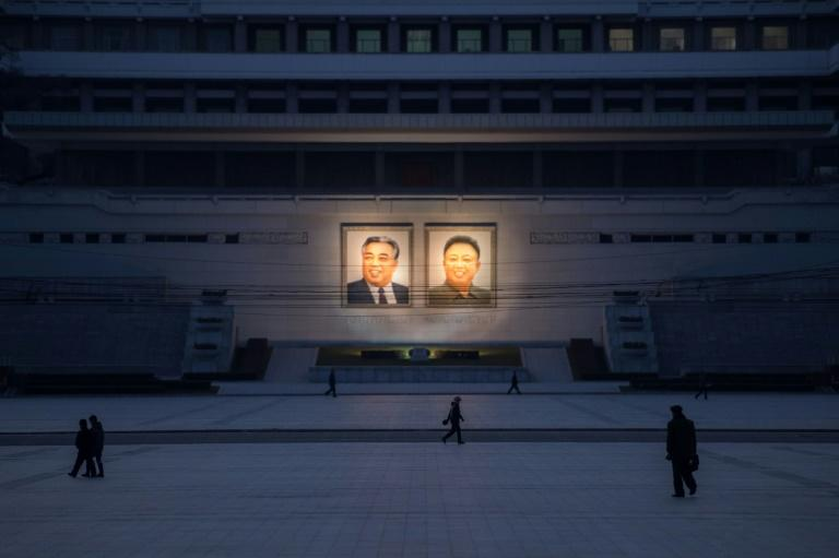 Portraits of late North Korean leaders Kim Il-Sung and Kim Jong-Il in Pyongyang. Despite sophisticated efforts to keep its economy afloat, UN sanctions are hurting