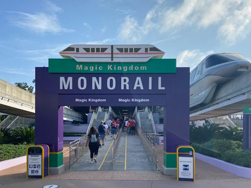 Those taking the normally packed monorail from Disney World's Transportation and Ticket Center to Magic Kingdom will find signage on the ground requiring social distancing and only one to two parties per car.