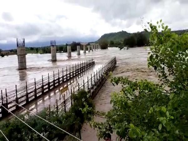 Two bridges on Datia-Gwalior road damaged due to strong currents of the Sindh river, in Datia on Tuesday. (ANI Photo)