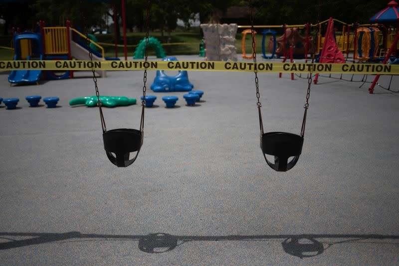 Empty playground is taped off amid the global outbreak of the coronavirus disease in Seabrook Texas