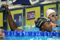 Simone Manuel participates in the women's 50 freestyle during wave 2 of the U.S. Olympic Swim Trials on Saturday, June 19, 2021, in Omaha, Neb. (AP Photo/Jeff Roberson)