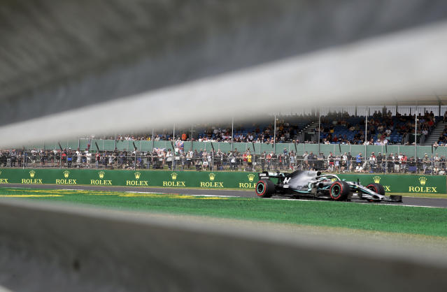 Mercedes driver Lewis Hamilton of Britain steers his car during the first free practice at the Silverstone racetrack, in Silverstone, England, Friday, July 12, 2019. The British Formula One Grand Prix will be held on Sunday. (AP Photo/Luca Bruno)