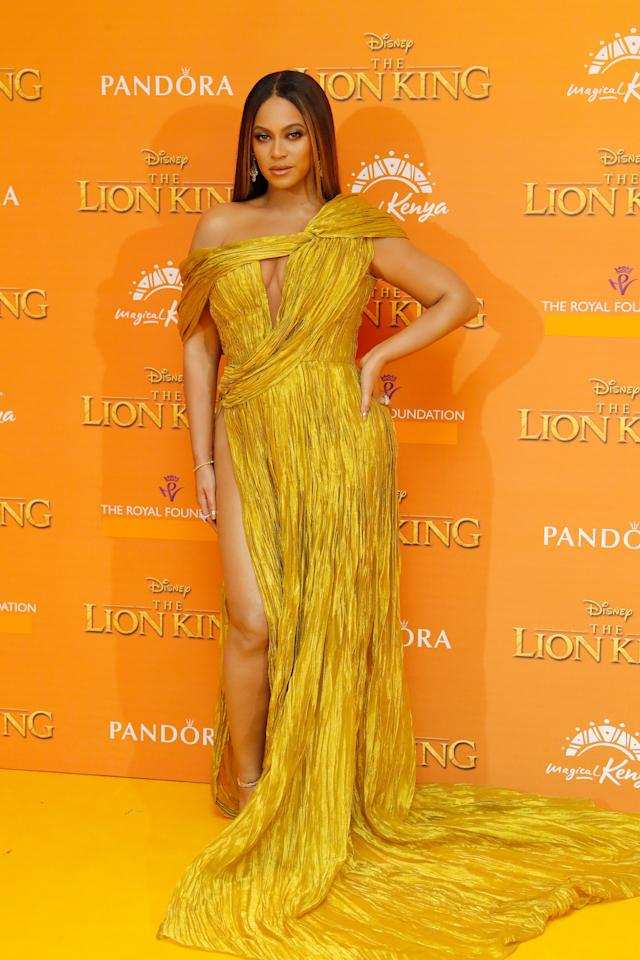 "<p>Bey wore this golden number at the <a href=""https://www.popsugar.com/celebrity/Celebrities-Lion-King-World-Premiere-UK-Pictures-2019-46371885"" class=""ga-track"" data-ga-category=""Related"" data-ga-label=""https://www.popsugar.com/celebrity/Celebrities-Lion-King-World-Premiere-UK-Pictures-2019-46371885"" data-ga-action=""In-Line Links"">UK premiere of <b>The Lion King</b></a> where she <a href=""https://www.popsugar.com/celebrity/Beyoncé-Meghan-Markle-Meet-Lion-King-Premiere-Video-46375473"" class=""ga-track"" data-ga-category=""Related"" data-ga-label=""https://www.popsugar.com/celebrity/Beyonc%C3%A9-Meghan-Markle-Meet-Lion-King-Premiere-Video-46375473"" data-ga-action=""In-Line Links"">met Prince Harry and Meghan Markle</a> in July 2018. Why not commemorate such a cultural moment by rocking a similar gown?</p>"