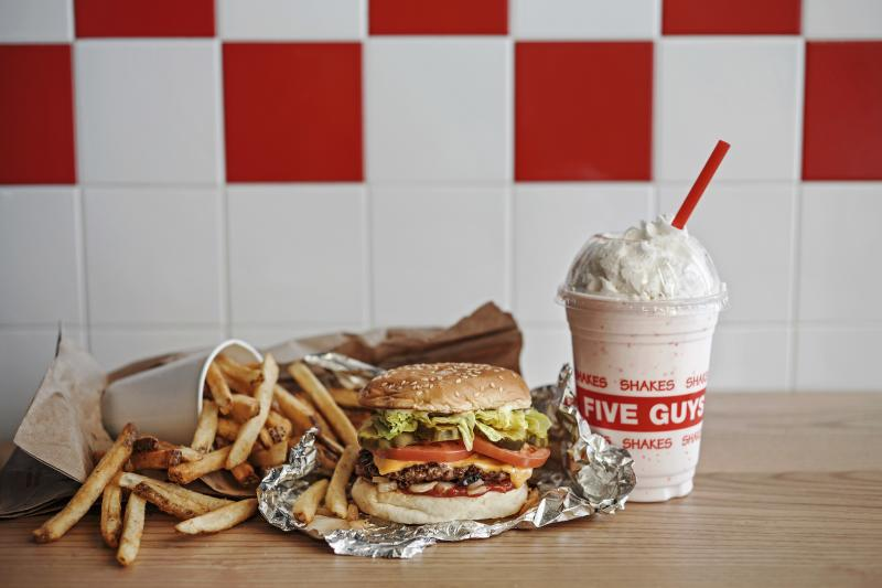 Five Guys fries, burger and strawberry milkshake. (PHOTO: Five Guys)