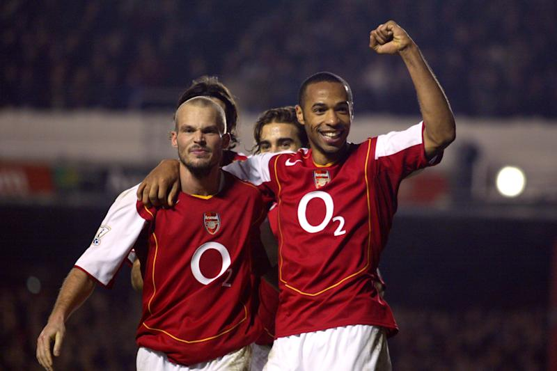 Arsenal's Thierry Henry celebrates with Frerik Ljungberg (l) after scoring the third goal against Birmingham City (Photo by Adam Davy - PA Images via Getty Images)
