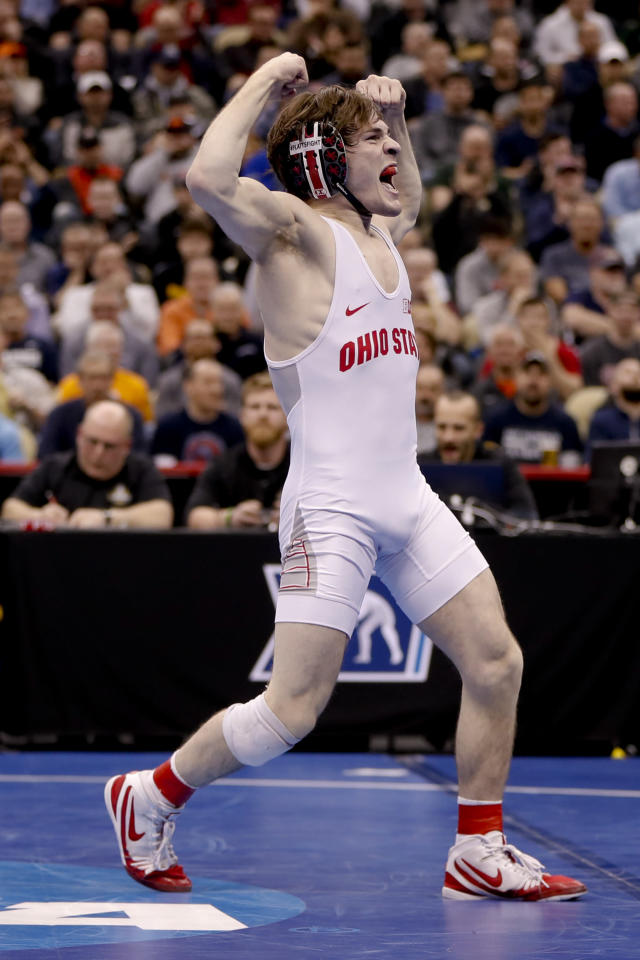 Ohio State's Joey McKenna, celebrates after defeating Penn State's Nick Lee in their 141-pound match in the semifinals of the NCAA wrestling championships Friday, March 22, 2019, in Pittsburgh. McKenna will face Cornell's Yianni Diakomihalis in the finals Saturday. (AP Photo/Keith Srakocic)