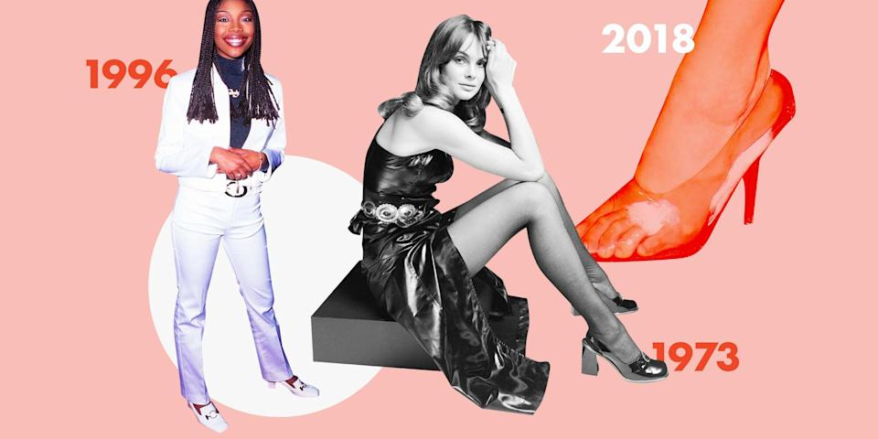 <p>Shoe trends come and go—and then come back again. Click through to see the past 53 years of pumps, slides, platforms, clogs, peep-toes, and, yes, even Uggs. </p>