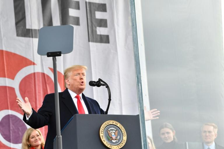 "US President Donald Trump speaks during the 47th annual anti-abortion ""March for Life"""