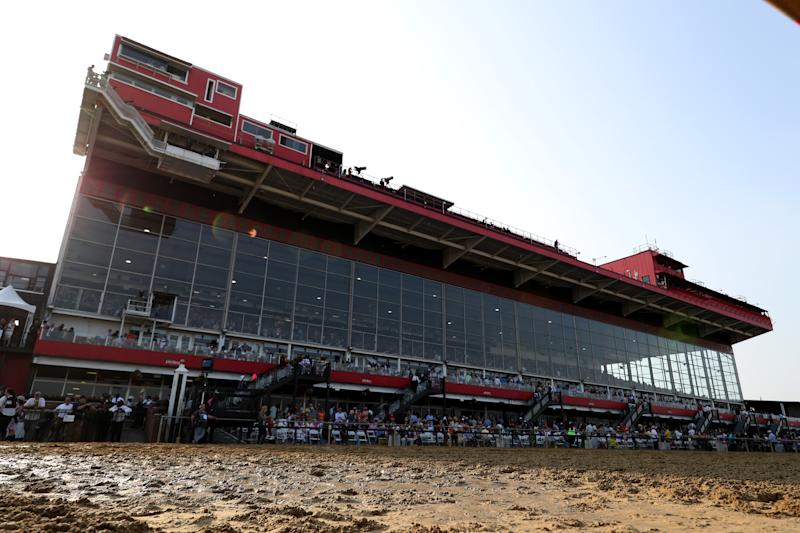 BALTIMORE, MARYLAND - MAY 18: A general view of the grandstand prior to the 144th Running of the Preakness Stakes at Pimlico Race Course on May 18, 2019 in Baltimore, Maryland. (Photo by Rob Carr/Getty Images)