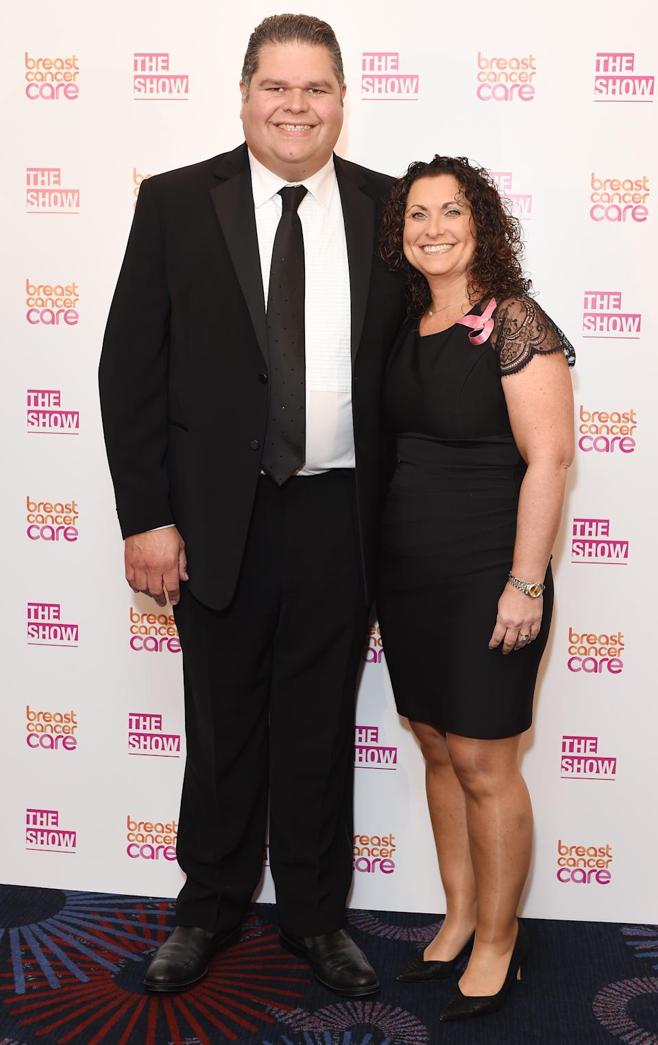 Jonathan and Nikki Tapper from GoggleBox attend Breast Cancer Care's London fashion show at Grosvenor House Hotel to launch Breast Cancer Awareness Month, on October 7, 2015 in London, England.  (Photo by Tabatha Fireman/Getty Images for Breast Cancer Care)