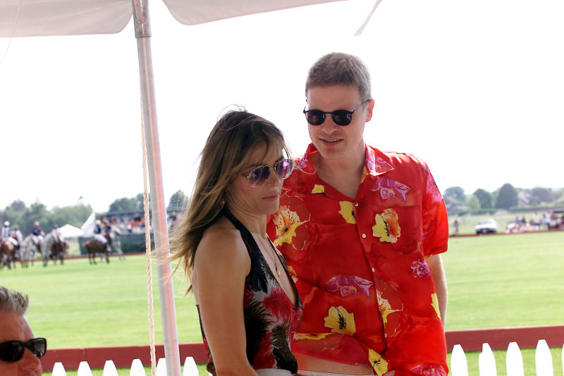 Elizabeth Hurley with boyfriend Steven Bing at opening day at the Mercedes-Benz Polo Challenge at the Bridgehampton Polo Club in Bridgehampton, New York. 07/14/2001. Photo: Evan Agostini/ImageDirect