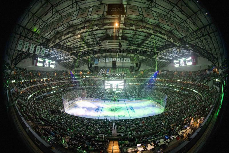 Apr 17, 2019; Dallas, TX, USA; A general view of American Airlines Center prior to the game between the Dallas Stars and the Nashville Predators in game four of the first round of the 2019 Stanley Cup Playoffs. Mandatory Credit: Jerome Miron-USA TODAY Sports