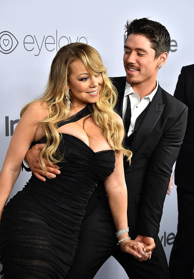 <p>Nominee Mariah Carey brought boyfriend Bryan Tanaka to the famed InStyle after-party. (Photo: Frazer Harrison/Getty Images) </p>