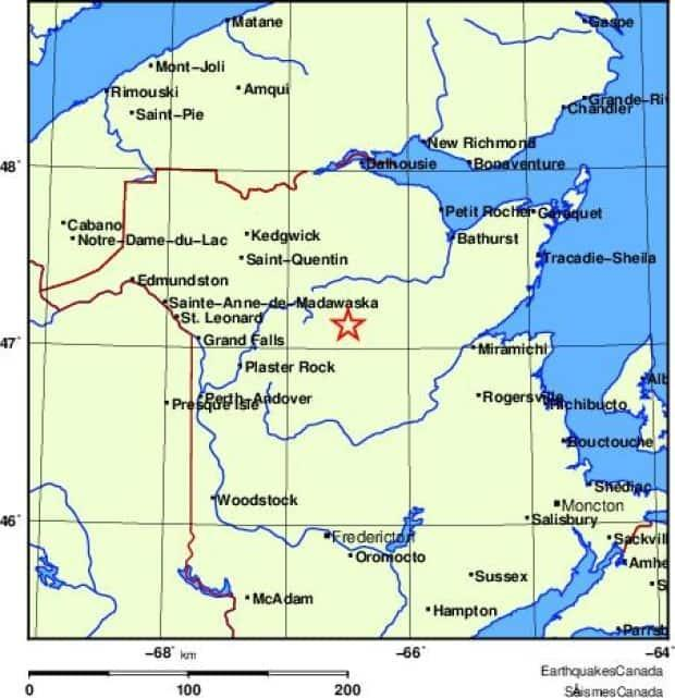 A 2.6-magnitude earthquake was recorded south of Mount Carleton Provincial Park in New Brunswick early Sunday morning.