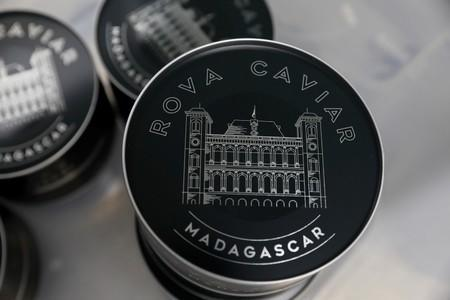 A can of Rova caviar is seen on the processing line at the Acipenser fish farm in Ambatolaona