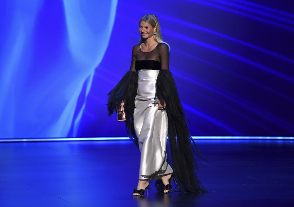 Gwyneth Paltrow appears onstage at the 71st Primetime Emmy Awards on Sunday, Sept. 22, 2019, at the Microsoft Theater in Los Angeles. (Photo by Phil McCarten/Invision for the Television Academy/AP Images)
