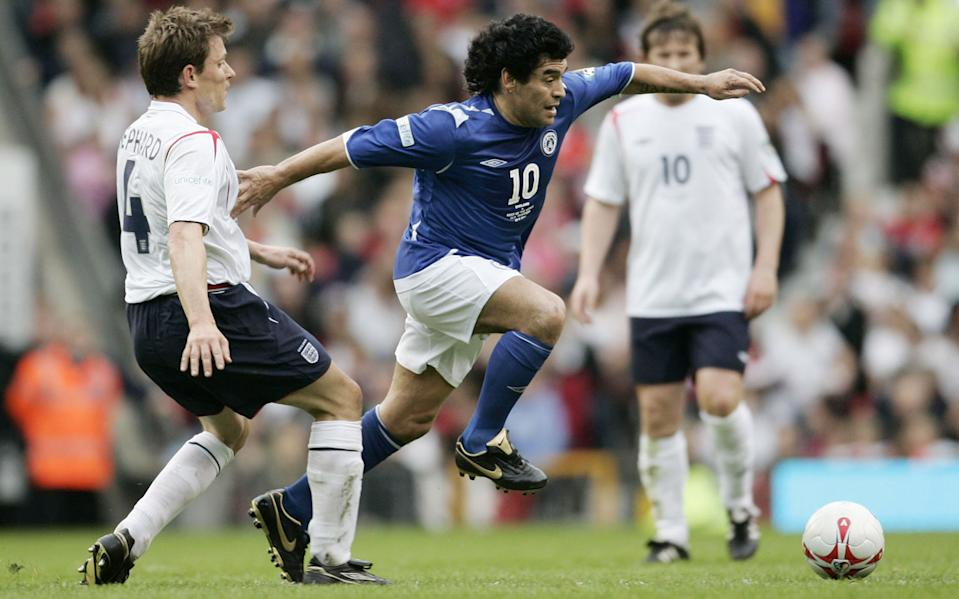 The Rest of the World's Diego Maradona and England's Ben Shephard in action at ITV Soccer Aid, Old Trafford, 2006 (Action Images / John Sibley Livepic)