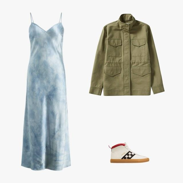 Polo Ralph Lauren tie-dye silk maxi dress, $398, ralphlauren.com; Everlane Modern Utility jacket, $78, everlane.com; Bally sneakers, $470, [bally.com])(https://www.bally.com/en_us/woman/shoes/sneakers/the-vita-parcours-womens-calf-suede-high-top-sneakers-in-white-6221363.html)