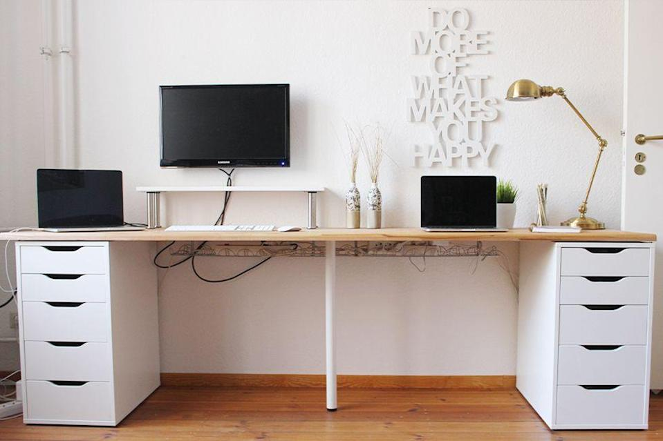 """<p>By using two ALEX drawer units, an ADILS leg, and a wooden worktop from the hardware store, Nadine from <a href=""""https://beautyressort.de/office-update-diy-desk/?cookie-state-change=1537459644829"""" rel=""""nofollow noopener"""" target=""""_blank"""" data-ylk=""""slk:Beauty Ressort"""" class=""""link rapid-noclick-resp"""">Beauty Ressort</a> created a perfectly spacious workplace for one or even two people to spread out and be productive.</p><p>See more at <a href=""""https://beautyressort.de/office-update-diy-desk/?cookie-state-change=1537459644829"""" rel=""""nofollow noopener"""" target=""""_blank"""" data-ylk=""""slk:Beauty Ressort"""" class=""""link rapid-noclick-resp"""">Beauty Ressort</a>.</p><p><strong><a class=""""link rapid-noclick-resp"""" href=""""https://go.redirectingat.com?id=74968X1596630&url=https%3A%2F%2Fwww.ikea.com%2Fus%2Fen%2Fcatalog%2Fproducts%2F10217971%2F&sref=https%3A%2F%2Fwww.bestproducts.com%2Fhome%2Fg29514474%2Fbest-ikea-hacks%2F"""" rel=""""nofollow noopener"""" target=""""_blank"""" data-ylk=""""slk:BUY NOW"""">BUY NOW</a> </strong><em><strong>ADILS Leg, $4, ikea.com</strong></em></p>"""