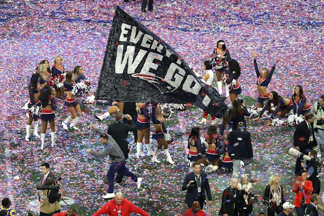 <p>The New England Patriots celebrate their 13-3 win in Super Bowl LIII against the Los Angeles Rams at Mercedes-Benz Stadium on February 03, 2019 in Atlanta, Georgia. (Photo by Rob Carr/Getty Images) </p>