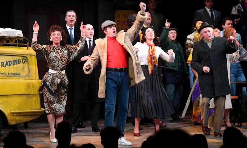 Lovely Jubbly!LONDON, ENGLAND - FEBRUARY 19: Samantha Seager as Marlene, Tom Bennett as Del Boy and Paul Whitehouse as Grandad appear on stage during the opening night of Only Fools and Horses The Musical at Theatre Royal Haymarket on February 19, 2019 in London, England. (Photo by Dave J Hogan/Dave J Hogan/Getty Images for Neil Reading PR )