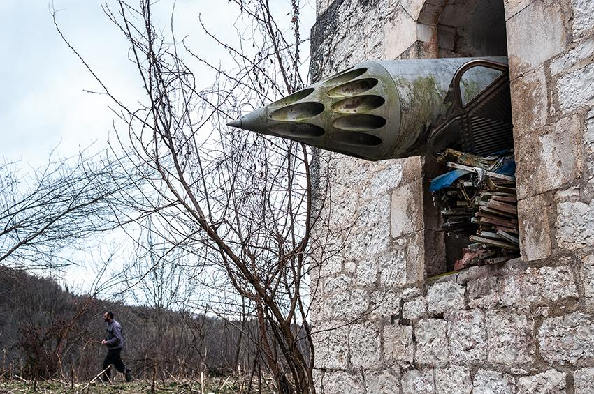 """<p>""""Scars of Independence"""": Anukhva, Abkhazia. 2013. An unguided missile launching mount, left in an Orthodox church destroyed during the war. (© Olga Ingurazova from """"War Is Only Half the Story,"""" the Aftermath Project & Dewi Lewis Publishing) </p>"""