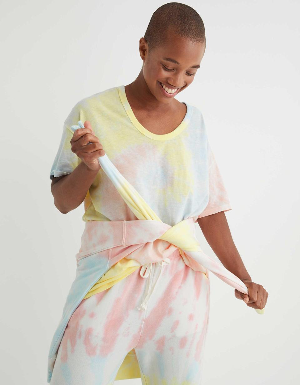 """<p>""""This very simple (and cute) <span>Aerie Tie Dye Boyfriend Voop Oversized T-Shirt</span> ($25) is one of the softest tees I've ever slept in, which is why I've been wearing it on repeat. The fit is loose and light, and it's so good that I've influenced my husband to get his own."""" - SJ</p>"""